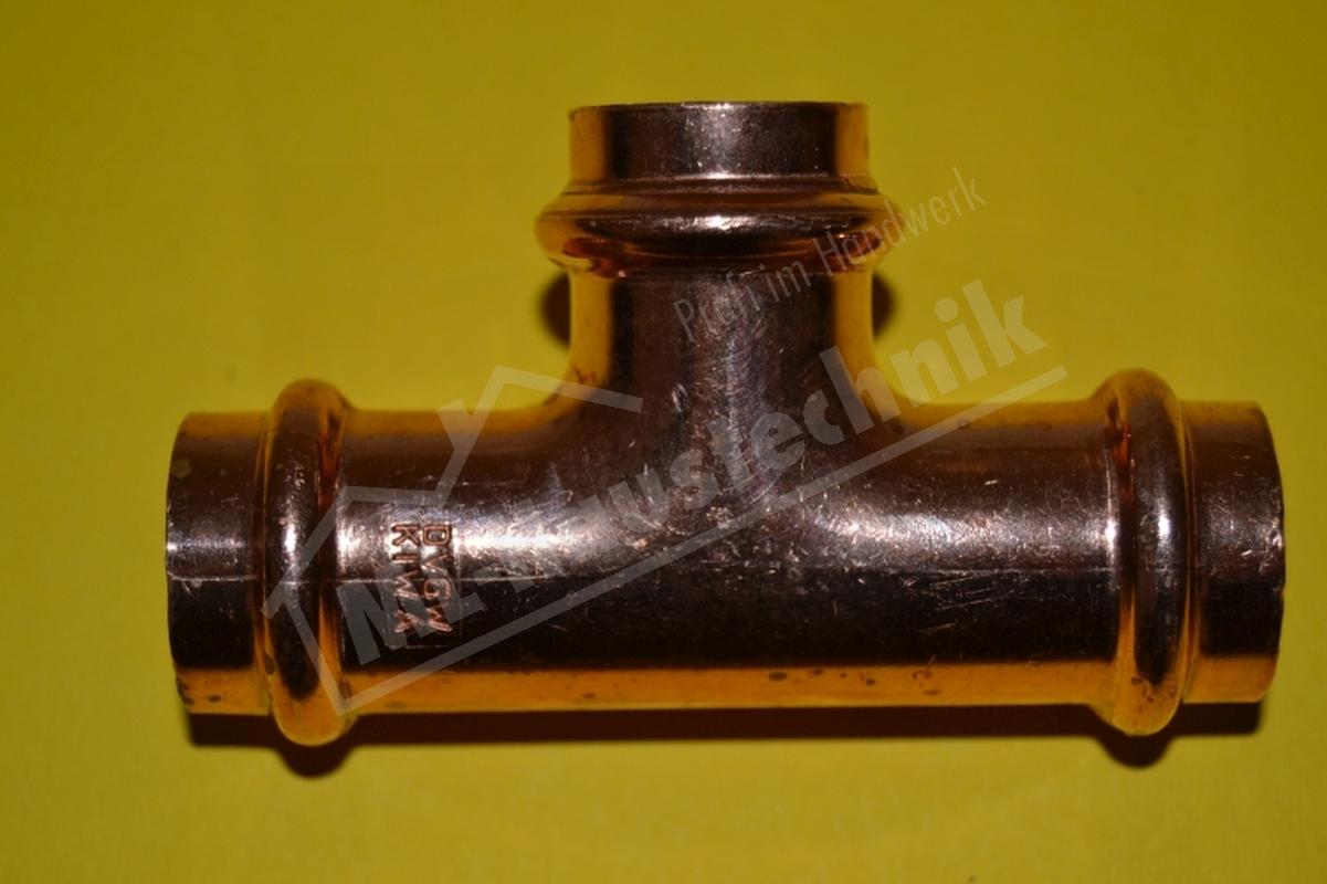 Press Fitting P5130 T-Stück 12-15-18-22-28-35-42-54 mm Kupfer mit DVGW T Stück x