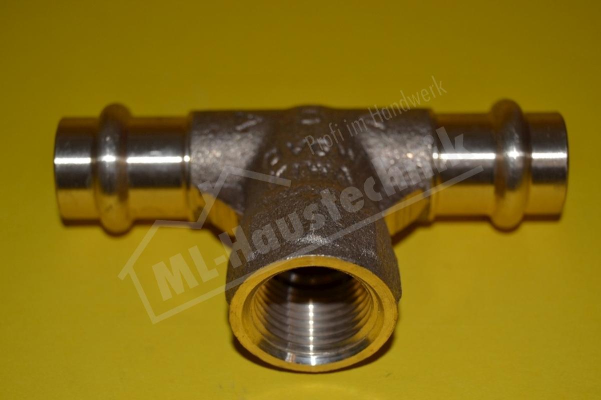 Press Fitting P4130G Rotguss T-Stück IG 15-18-22-28-35-42-54 mm Kupfer x Zoll