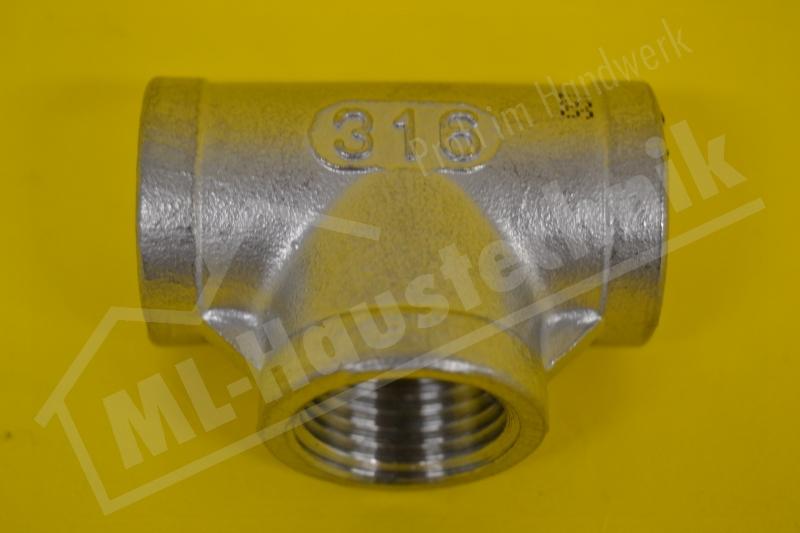 """Edelstahl T-Stueck Werkstoff V4A   1/2"""" IG"""