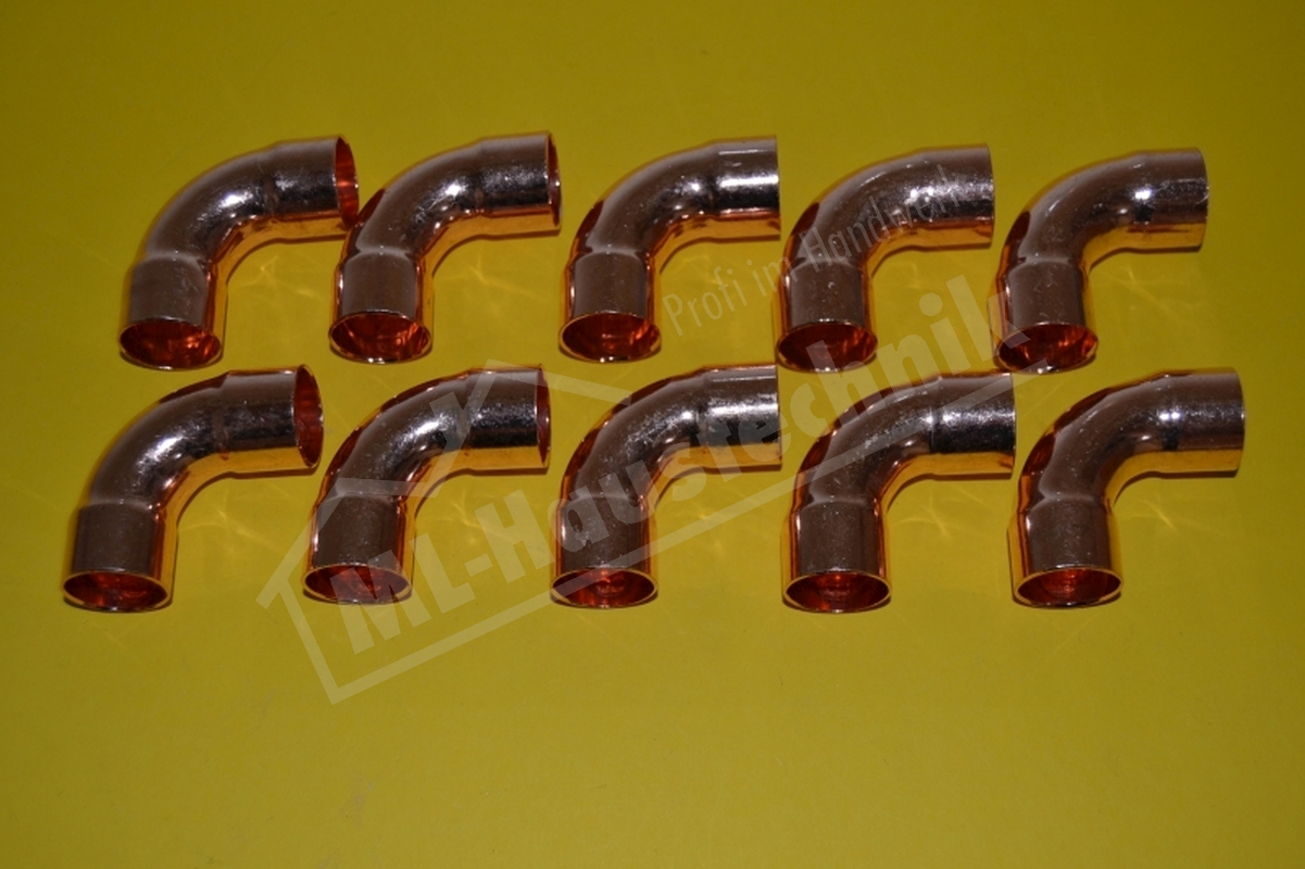 10x Kupfer Löt Bogen 90 Grad ii 5002a 10-12-15-18-22-28 mm Bögen Mengen-Rabatt