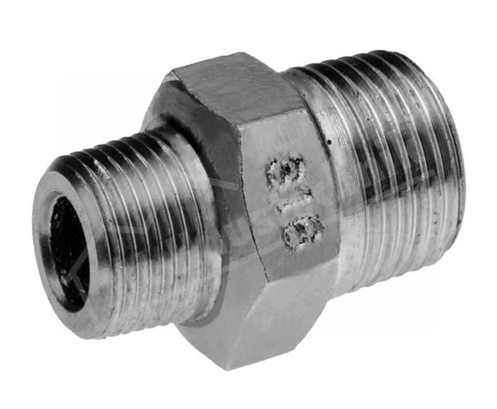 """Edelstahl 6-KT/8-KT Red-Doppelnippel V4A 3/4"""" x 1/2"""" Zoll"""