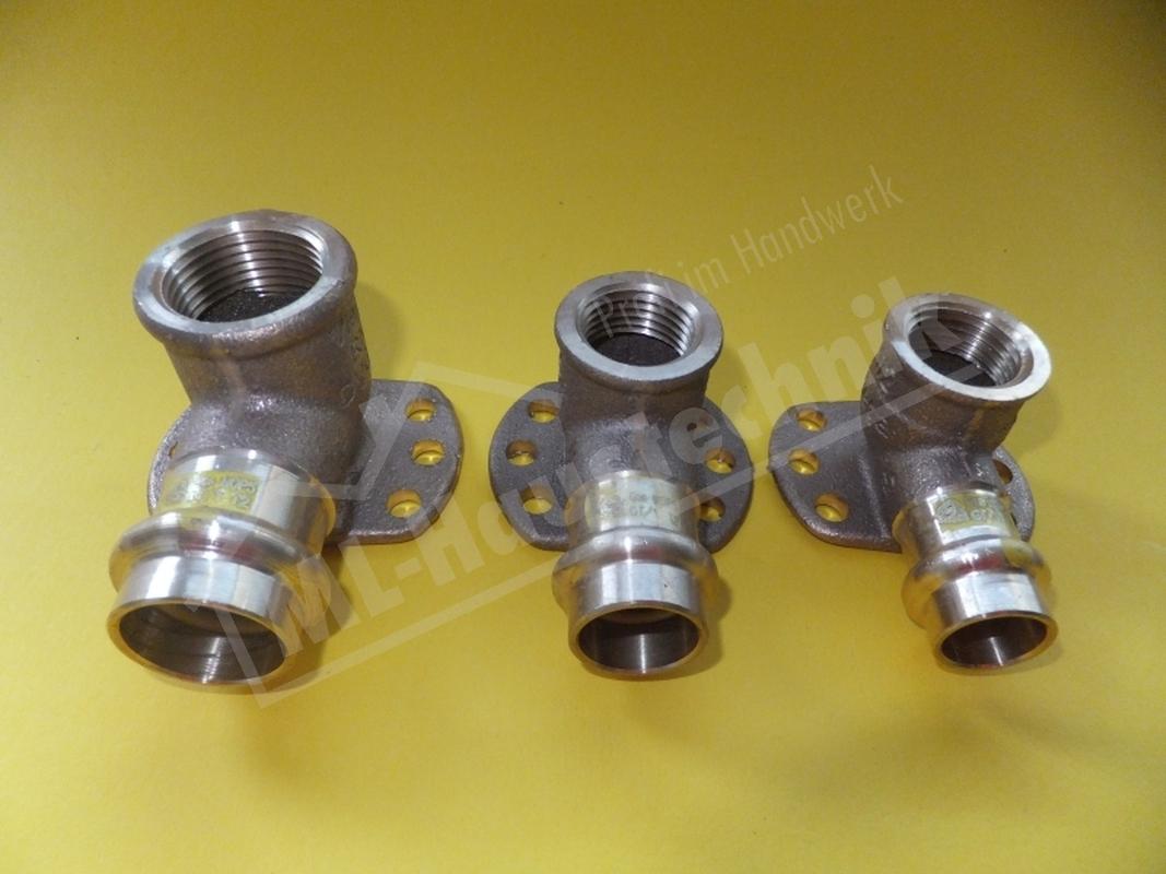 "Viega Profi Press Gas Wandscheibe Deckenwinkel 15-18-22 mm x 1/2 - 3/4"" Zoll"