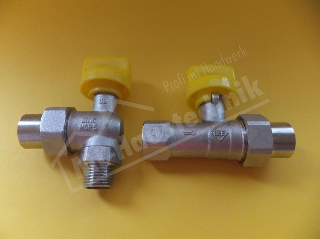 Gas Geräte Kugelhahn verchromt für Heizgerät Gashahn