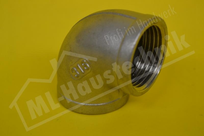 """Edelstahl Winkel Werkstoff V4A 1 1/2"""" IG 90 Grad"""