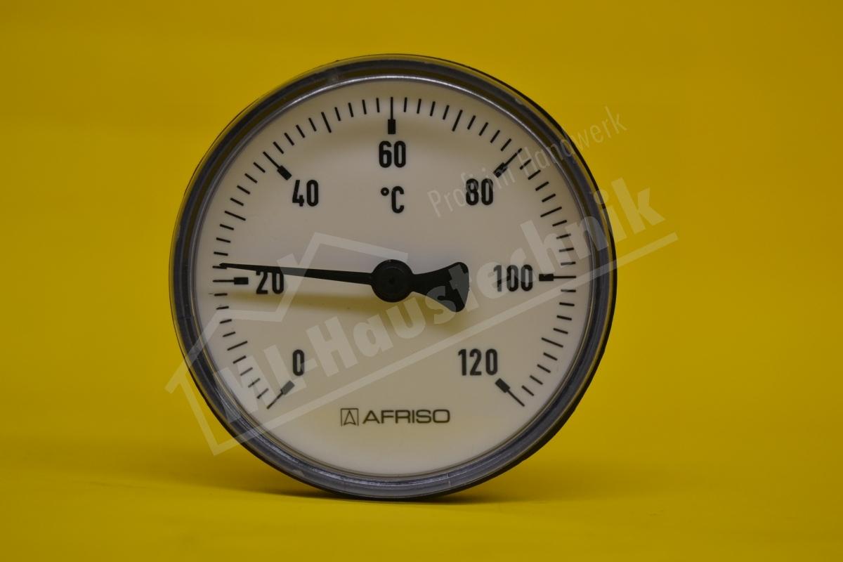 """Bimetall-Thermometer 1/2"""" x  60mm Gehäuse  63 mm 0-120 Grad"""