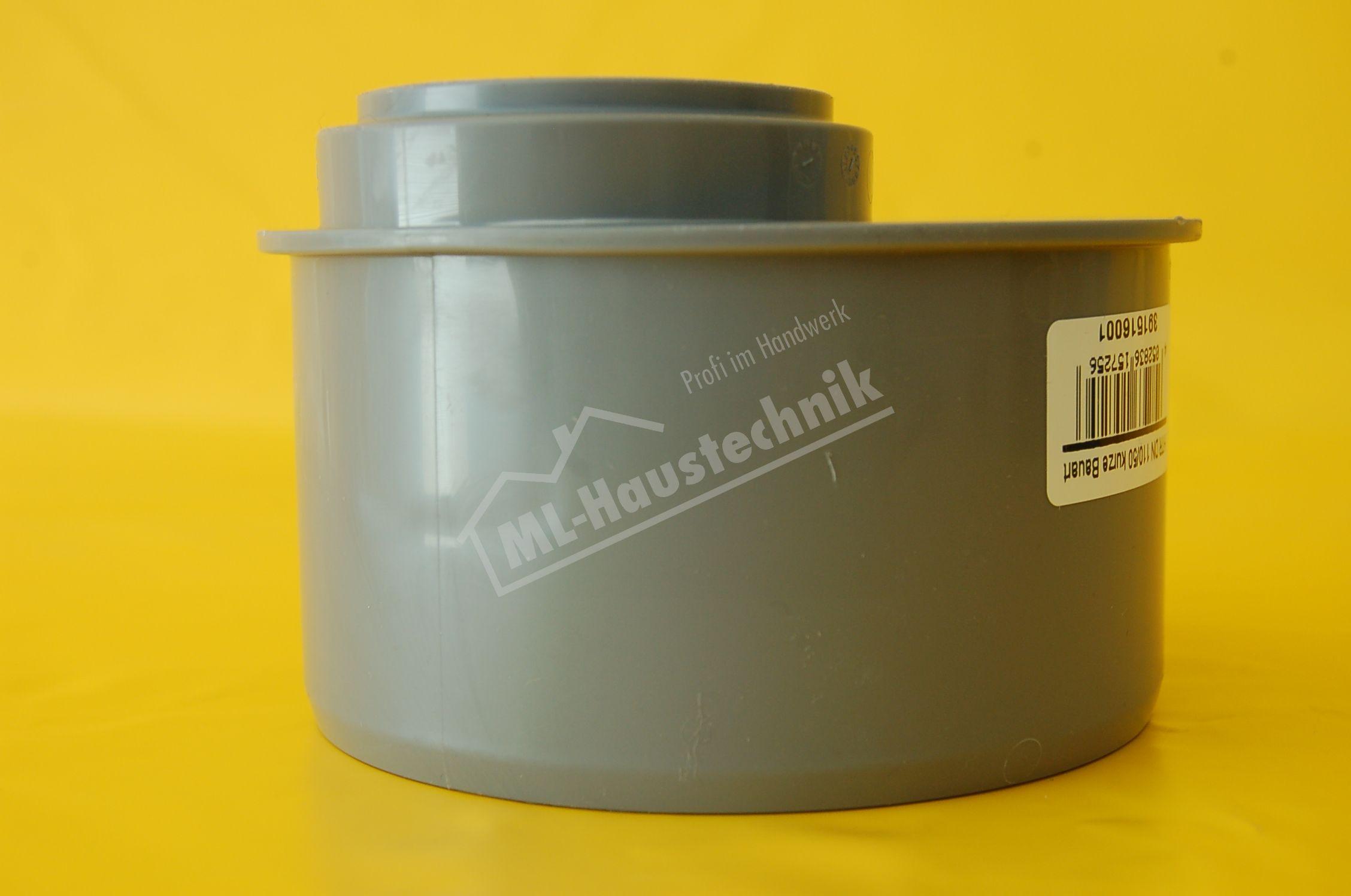 Uebergangsrohr HT -  DN 100 x 50 kurze Ausführung Reduzierung Redu