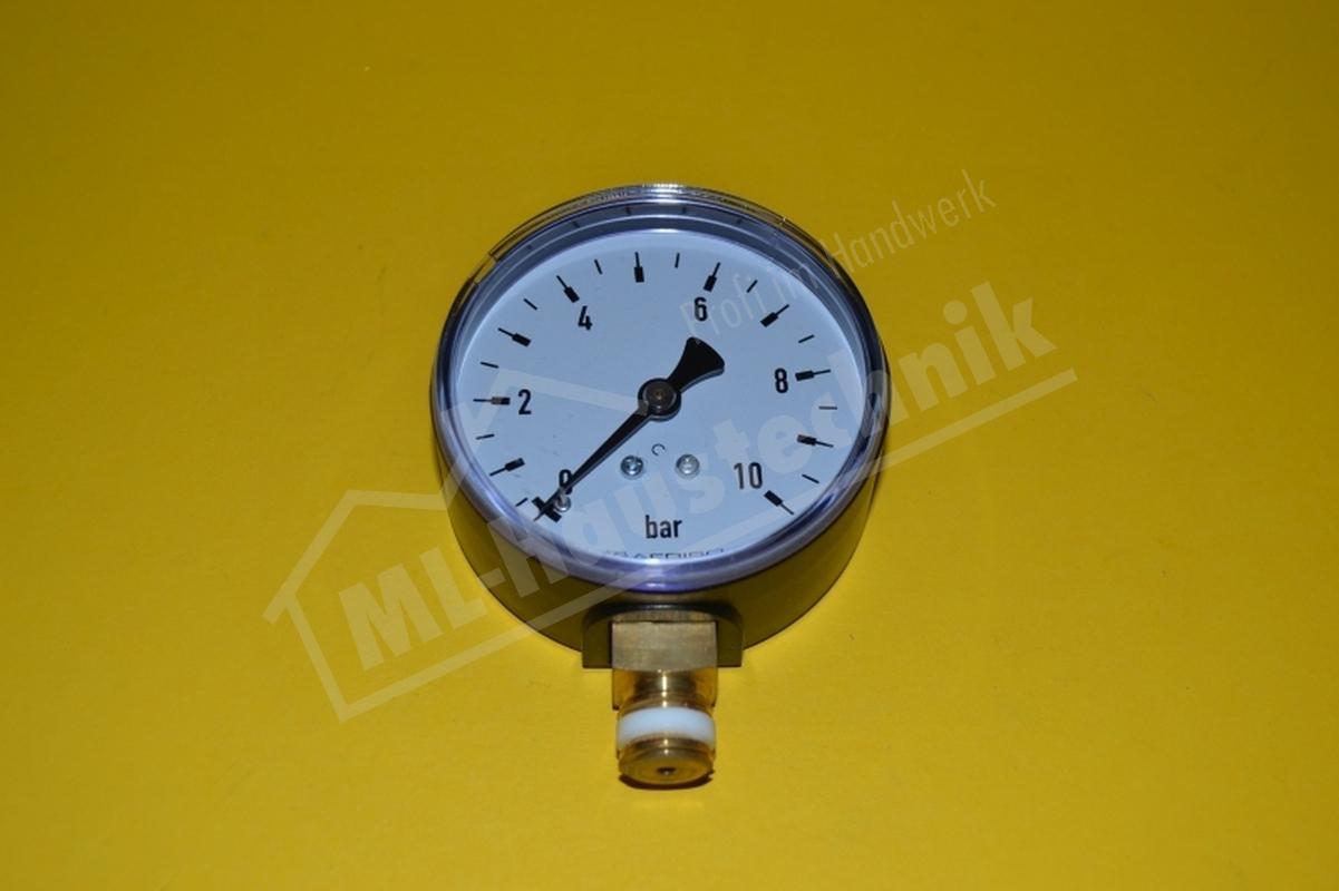 """Manometer 1/4"""" unten 0-10 bar Gehäuse 63mm Sanitär Wasser"""