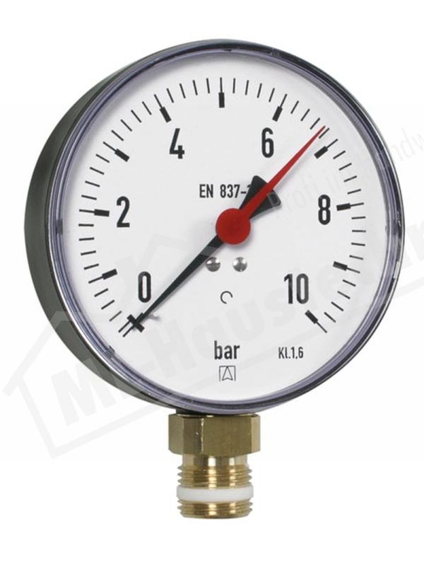 "Manometer 1/2"" Zoll unten 0-10 bar Gehäuse 100 mm"