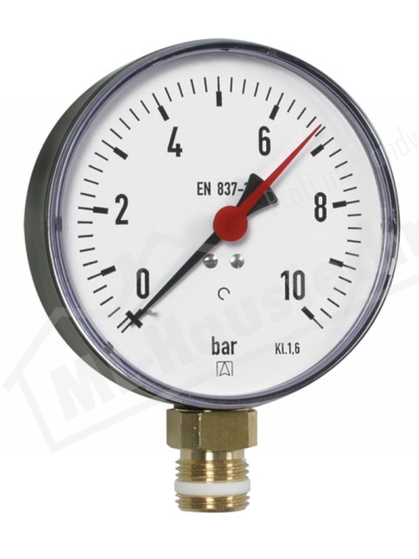 "Manometer 1/2"" Zoll unten 0- 4 bar Gehäuse 100 mm"