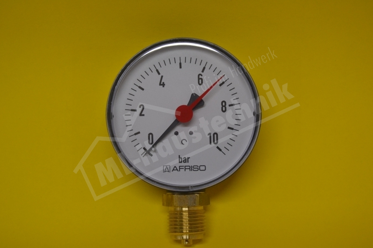 "Manometer 1/2"" Zoll unten 0-10 bar Gehäuse 80 mm"