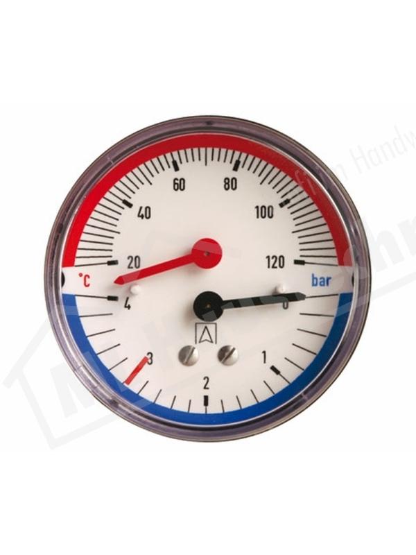 """Manometer Mano-Thermometer 1/2"""" hinten 0-2.5/ 4 bar Gehäuse 80 mm 20-120 Grad"""