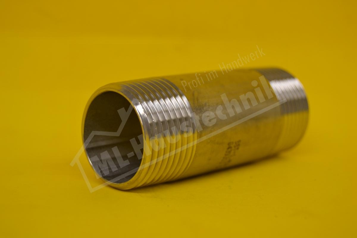 """Edelstahl Rohrdoppelnippel Werkstoff 1.4571     1"""" x  80mm"""