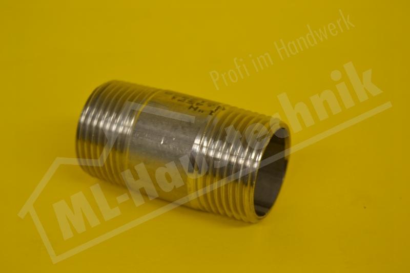 "Edelstahl Rohrdoppelnippel 1.4571 Größe 1"" L= 60mm"