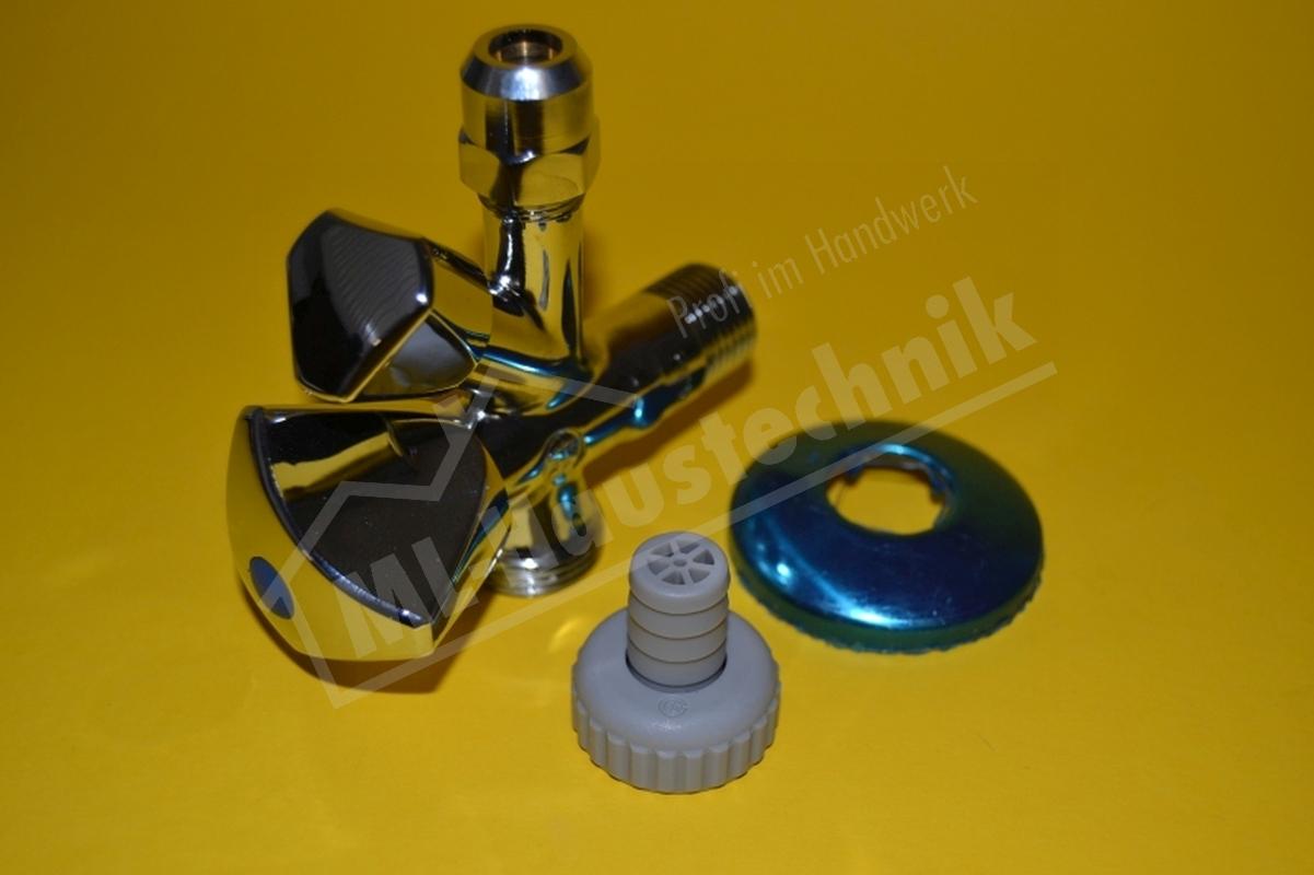 """Geräteanschluss Ventil Kombi Eck 1/2"""" Zoll  Doppelspindeleckventil Eckventil"""