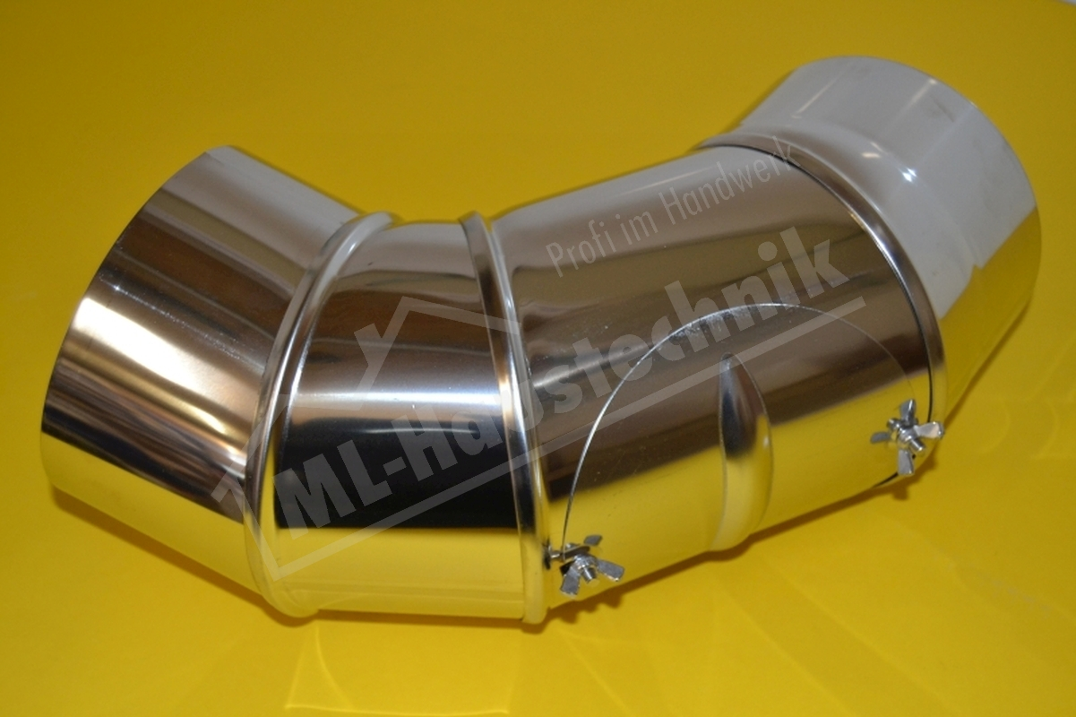 Edelstahl Abgasbogen 150 verstelbereich 0-90 grad mit Tür