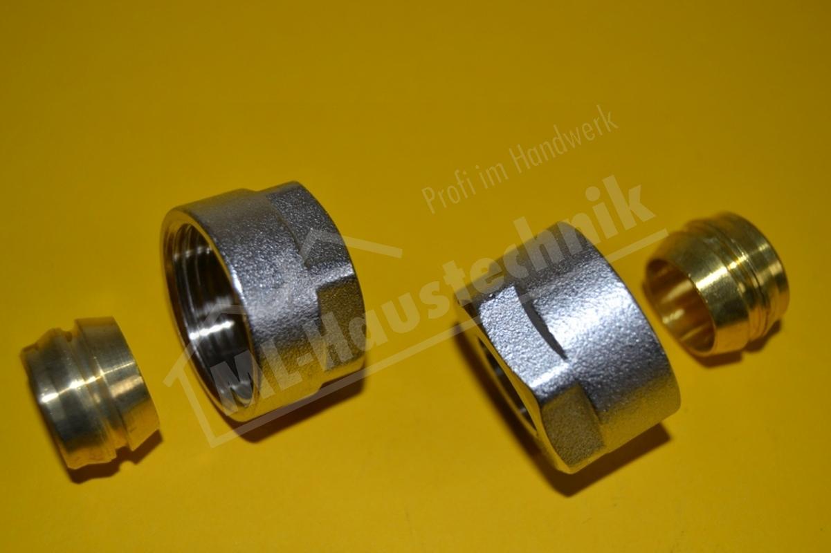 2 stück Klemmverschraubung 15 mm x 3//4 Eurokonus  Hahnblock Heizkörper Verteiler