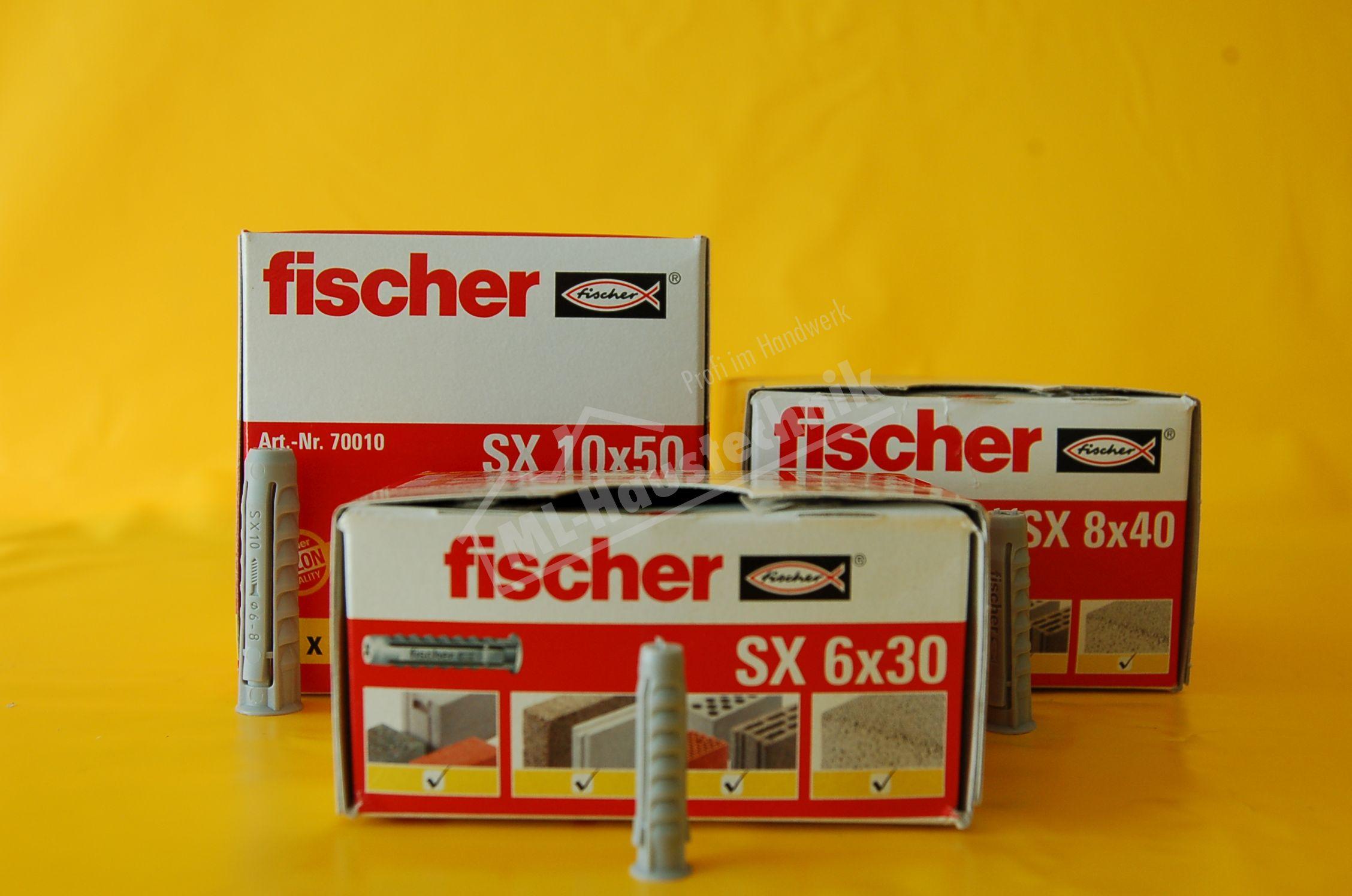 10x Stück Fischerdübel Typ SX 6, 8, 10 Dübel Fischer (10) für Stockschrauben M8