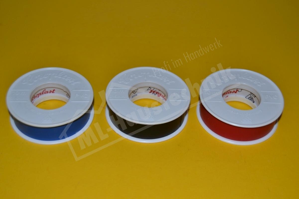 Elektro-Isolierband 15mm Breite x 10m Länge, PVC Klebeband schwarz, blau, rot