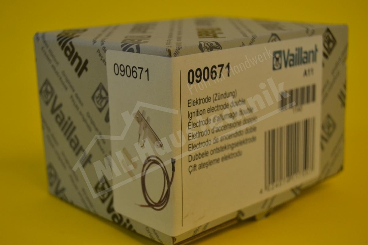 Vaillant Doppelzündelektrode 090671 VKS , VKU  Doppel Zünd Elektrode